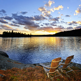 Wooden Chair on Beach of Relaxing Lake at Sunset in Algonquin Park, Canada Photographic Print by  elenathewise
