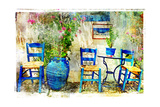 Pictorial Details of Greece - Old Chairs in Taverna- Retro Styled Picture Poster by  Maugli-l