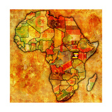 Uganda on Actual Map of Africa Print by  michal812