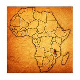Malawi on Actual Map of Africa Print by  michal812