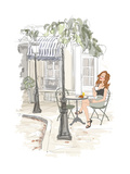 Montmarte in Paris - Woman on Holiday Having Breakfast at a Terrace of an Hotel - Vector Illustrati Prints by  isaxar