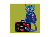 Concept Cat in Cartoon Style. Vector Illustration. Travel Concept: the Cat and a Suitcase to Travel Art by De Visu