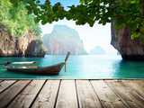 Adaman Sea and Wooden Boat in Thailand Photographic Print by Iakov Kalinin