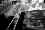 Black and White Houston Texas Downtown Mirror Buildings Detail Photographic Print by  holbox
