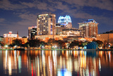 Urban Architecture with Orlando Downtown Skyline over Lake Eola at Dusk Photographic Print by Songquan Deng