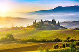 Tuscany Foggy Landscape at Sunrise, Italy Photographic Print by  sborisov