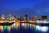 Montreal over River at Dusk with City Lights and Urban Buildings Photographic Print by Songquan Deng