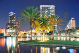Orlando Downtown Skyline Panorama over Lake Eola at Night with Urban Skyscrapers, Tropic Palm Tree Photographic Print by Songquan Deng