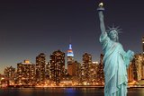 Midtown Manhattan Skyline and the Statue of Liberty at Night, New York City Photographic Print by  Zigi