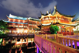 Historical Pagoda Stile Building in Shanghai at Night Print by Songquan Deng