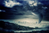 Digitally Generated Stormy Sky with Tornado over Cityscape Photographic Print by Wavebreak Media Ltd