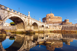 Saint Angel Castle and Bridge over the Tiber River in Rome Photographic Print by  sborisov