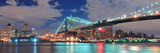 Brooklyn Bridge Panorama over East River at Night in New York City Manhattan with Lights and Reflec Prints by Songquan Deng