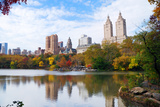 New York City Manhattan Central Park Panorama in Autumn Lake with Skyscrapers and Colorful Trees Wi Photo by Songquan Deng