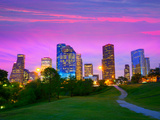 Houston Texas Modern Skyline at Sunset Twilight from Park Lawn Photographic Print by  holbox