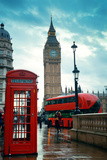 Red Telephone Box and Big Ben in Westminster in London. Prints by Songquan Deng