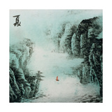 Chinese Traditional Ink Painting, Landscape of Season, Summer. Print by  elwynn