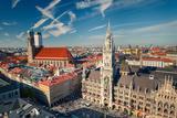 Aerial View of Munchen: Marienplatz, New Town Hall and Frauenkirche Photographic Print by  sborisov
