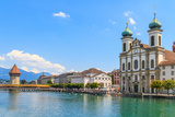 Lucerne City View with River Reuss and Jesuit Church, Switzerland Posters by  Zechal