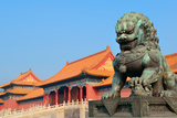 Lion Statue and Historical Architecture in Forbidden City in Beijing, China. Posters by Songquan Deng