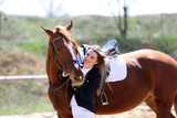 Beautiful Girl with Horse Outdoors Print by  Yastremska