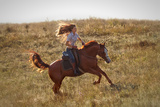 Beautiful Girl Riding a Horse  in Countryside. Photographic Print by  PH.OK