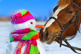 Portrait of Horse and Snowman in Winter Landscape. Photographic Print by  PH.OK