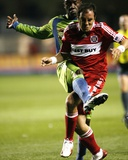 May 2, 2009, Seattle Sounders FC vs Chicago Fire - Jhon Kennedy Hurtado Photographic Print by Brian Kersey