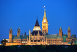 Ottawa at Night over River with Historical Architecture. Photographic Print by Songquan Deng