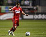 May 2, 2009, Seattle Sounders FC vs Chicago Fire - Gonzalo Segares Photographic Print by Brian Kersey
