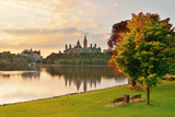 Ottawa City Skyline at Sunrise in the Morning Park View over River Photographic Print by Songquan Deng
