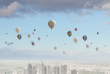 Conceptual Image with Colorful Balloons Flying High in Sky Prints by Sergey Nivens