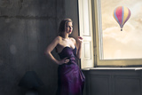 Elegant Woman Looks Hot Air Balloon Poster by  olly2