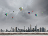 Conceptual Image with Colorful Balloons Flying High in Sky Posters by Sergey Nivens
