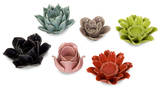 Leona Assorted Flower Candleholders - Set of 6* Home Accessories