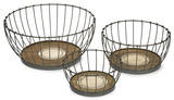 Agnese Wood and Metal Baskets - Set Home Accessories