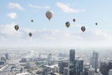 Conceptual Image with Colorful Balloons Flying High in Sky Print by Sergey Nivens