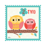Animal Stamps - Owl Two Prints by Jillian Phillips