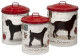Dog Food Storage Canisters w/Dog Images&Red lids - Set of 3 Home Accessories