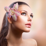 Beauty Portrait. Beautiful Stylish Girl with Orchid Flower. Pastel Colours. Perfect Face Skin Posters by Subbotina Anna