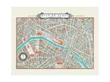 Plan de Paris Map Reproduction procédé giclée