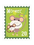 Animal Stamps - Monkey Giclee Print by Jillian Phillips