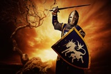 Medieval Knight over Stormy Sky. Posters by NejroN Photo