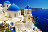 White-Blue Santorini - View of Caldera with Churches Photographic Print by  Maugli-l