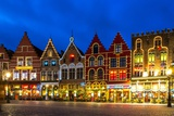 Decorated and Illuminated Market Square in Bruges, Belgium Poster by NejroN Photo