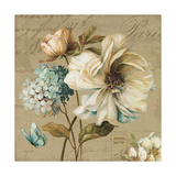 Marche de Fleurs Blue II Giclee-tryk i høj kvalitet af Lisa Audit