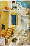 Colors of Santorini - Artistic Picture Photographic Print by  Maugli-l