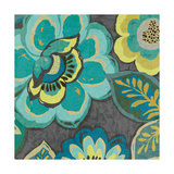 Floral Assortment Teal on Dark Grey Crop I Print by Hugo Wild