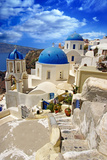 Beautiful White-Blue Santorini Prints by  Maugli-l