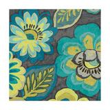 Floral Assortment Teal on Dark Grey Crop II Plakater af Hugo Wild